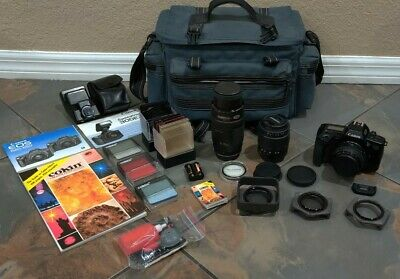 Canon EOS 650 Huge Lot EF 70-210mm 28-80mm 50mm Speedlite 300EZ Colin Filter Sys