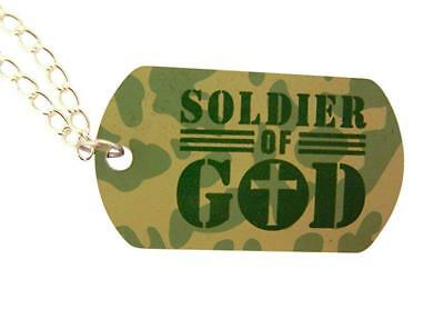 Religious Jewelry Camouflage Medal Soldier of God Dog Tag Pendant on Chain, 2 - Camouflage Jewelry