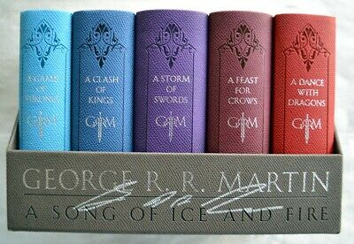 George RR Martin~SIGNED~A Song of Fire and Ice~5-Book Leather Set~1st Edition!
