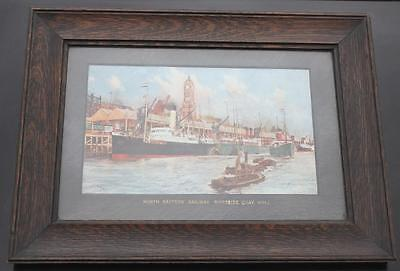 NORTH EASTERN RAILWAY STEAMERS HULL CHARLES DIXON 1909 FRAMED AGENTS PRINT