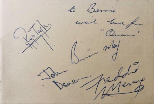 Queen Freddie Mercury Authentic Signed 1975 Full Set Of Signatures Comes W/ PSA