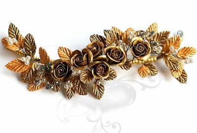 Tocado Diadema Novia Adorno Rosas doradas para el Pelo-Flores de Porcelana