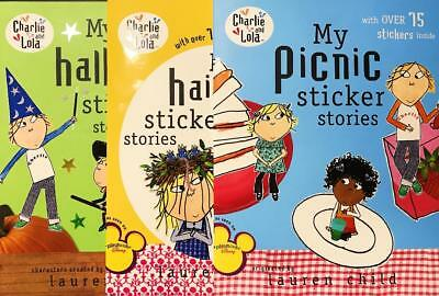 Charlie and Lola, lot of 3, Sticker stories, picnic, halloween, haircut