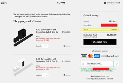Sonos 30% Off Entire Purchase Discount Promo Code for USA - UP TO $750 OFF