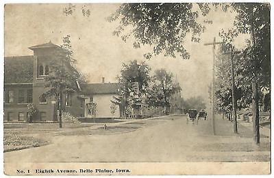 Belle Plaine Iowa IA (Benton County) Eighth Avenue Street Scene c.1912