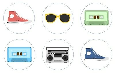 Eighties Party Edible Cupcake Toppers Decoration - Cassette Tape, Boom Box 80s - Eighties Party Decorations