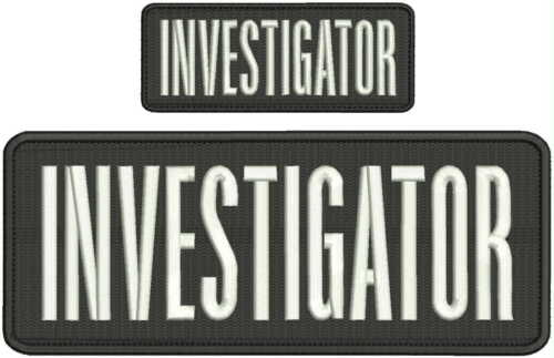 investigator embroidery patch 4x10 and 2x5 inches white letters