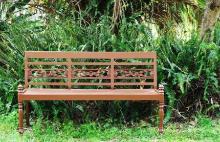 3 Seater Carved Back Painted Brown Timber Patio/Garden Bench