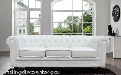 Chesterfield White Sofa Modern Bonded Leather Tufted Button Scroll Arm Rest