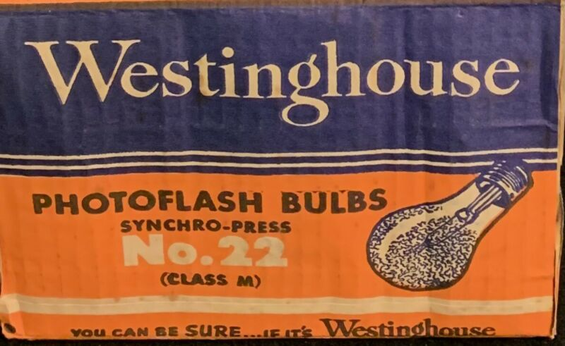 Vintage Westinghouse #22 Synchro-Press Photo Flash Bulbs Pack of 6 Class M NOS