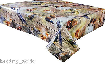PVC TABLE CLOTH GAME WOODLAND CREATURES PHEASANT DUCK RABBIT FOX WOOD WIPE ABLE ()