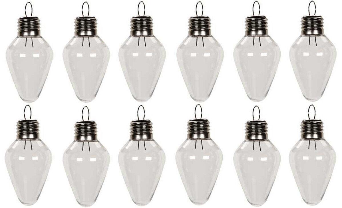 12 Pack – Clear Plastic Fillable Light Bulb Shape Christmas Ornaments 100mm (4″) Holiday & Seasonal Décor
