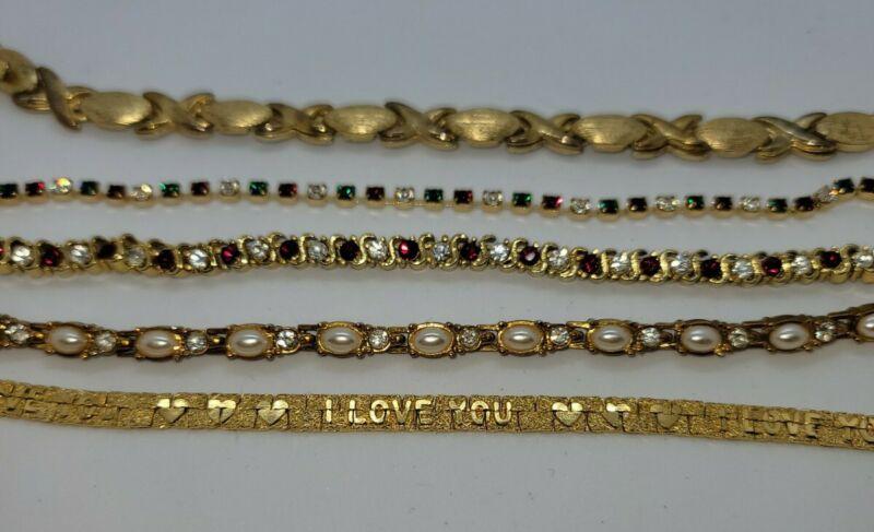 "Vintage Lot of 5  goldtone tennis Bracelets Great Condition all 7.5"" L"
