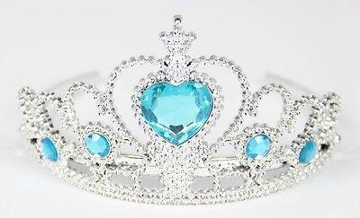 Diadem Prinzessin silber Krone mit türkisen Steinen blaues Zirkon Herz türkis