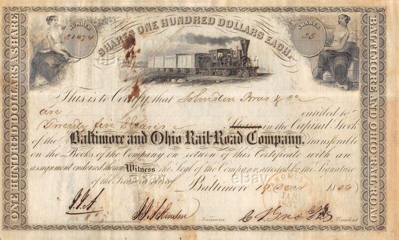 ANTIQUE BALTIMORE AND OHIO RAILROAD STOCK CERTIFICATE 1856 B&O RAILWAY TRAIN OLD
