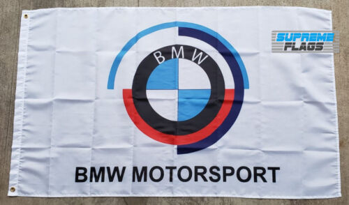 BMW Motorsport Flag Banner 3x5 ft Turbo Wall Sports Car Garage White