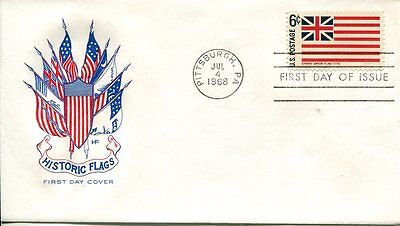 1968 HISTORIC FLAGS SERIES-GRAND UNION FLAG HOUSE OF FARNUM CACHET UNADDR FDC