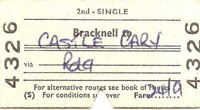 B.T.C. Edmondson Ticket - Bracknell to Castle Cary