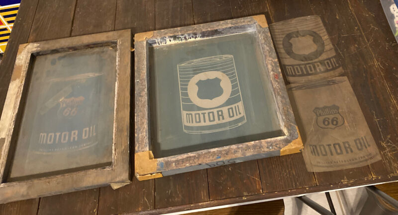 Vintage Phillips 66 Motor Oil Gas silk screen Set Sign