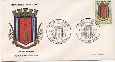 Malagasy 1963 First Day Cover Coat of Arms #351 Cachet Postmark