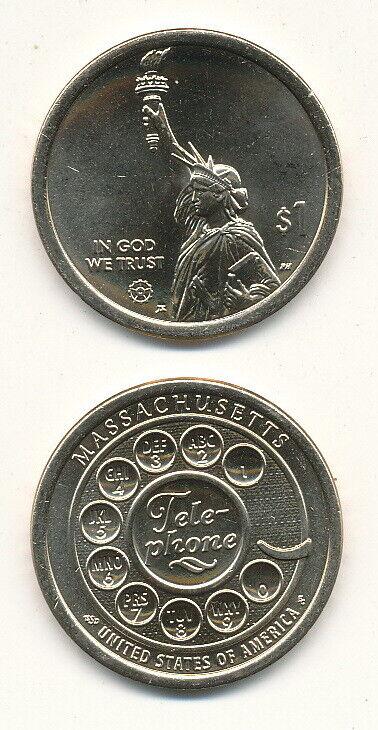 USA - $1 Dollar 2020 (Mint P) UNC - Innovation / Massachusetts / Telephone