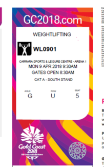 Reduced Commonwealth games weightlifting tickets Final 9th April