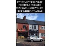 PROPERTY ,FREEHOLD, FOR SALE,INVESTMENT, COMMERCIAL, SHOP, £10,000 RENTAL INCOME,NOTTINGHAM