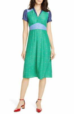 HVN Green Blue Bicolor Color-block Floral Print MORGAN Silk Midi Shirt-Dress 8 M