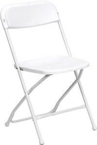 LOT-of-50-NEW-White-LIGHTWEIGHT-Plastic-Folding-Chair