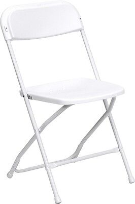 100 Pack 300 Lbs Weight Capacity Stackable White Plastic Folding Chairs
