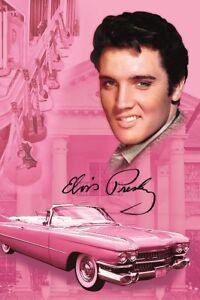 New Elvis Presley Pink Cadillac Plush Fleece Throw Gift Blanket Graceland Guitar