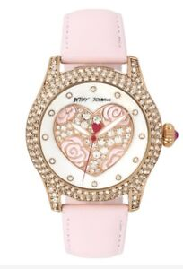 Betsey Johnson Rose Gold Tone Heart Pink Strap Watch