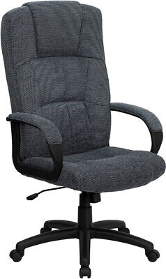 High Back Gray Fabric Executive Office Desk Chair With Arms Adjustable Height