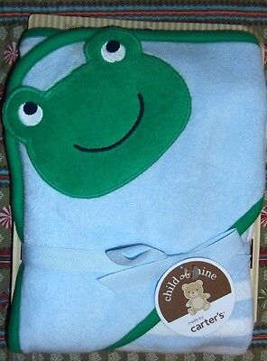 Baby Carter's Green Blue Stripe Frog Bath Hooded Towel Cotton Blend Terry NEW Carters Terry Hooded Towel