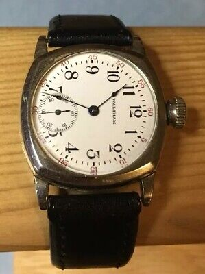Rare Early 1900's Waltham Watch. Ornate Case. Runs & Stops White Dial Blue Hands