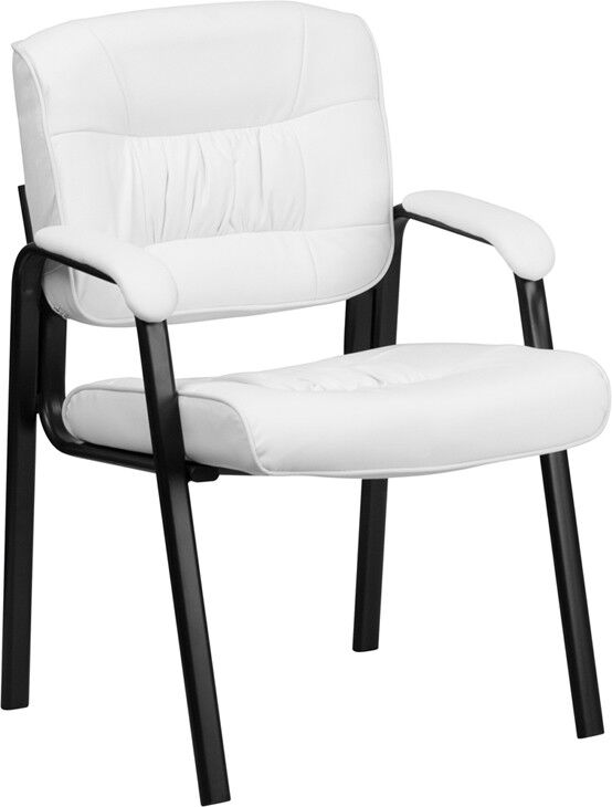 White Leather Executive Side Chair With Black Frame Finish