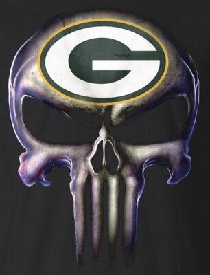 2  Green Bay Packers Punisher Skull Vinyl Stickers 5X3 8 Car Window Decal Logo