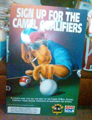"Joe Camel 1995 Pool Billiards League Poster 36""H x 24""W - RJ Reynolds - APA"