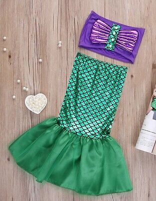 Little Mermaid Disney Ariel Tail Girl Fancy Dress Up Bikini Set Swim Costume UK  ()
