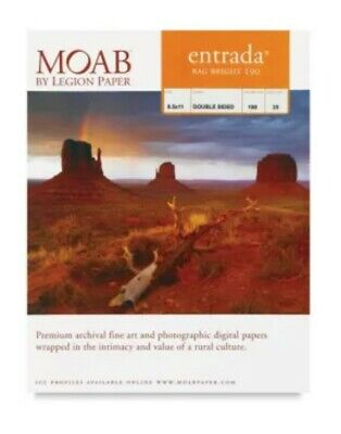 11x17 Moab Entrada Digital Rag Paper, Bright White, 25 sheets NEW (Moab White Inkjet Paper)