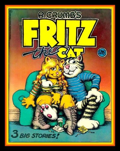 """4.75"""" Fritz the Cat vinyl sticker. R. Crumb comics decal. Many more in my store."""