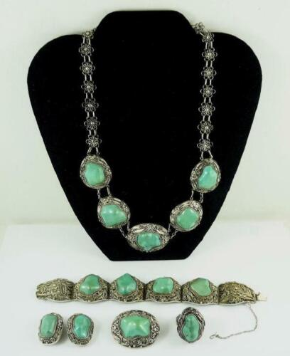 Vintage Ethnic Silver Filigree & Turquoise Jewelry Suite - 5 Pieces Included
