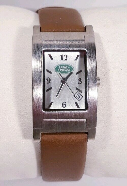 Women Land Rover Promotion Europa Watch Silver Case Brown Faux Leather Band New
