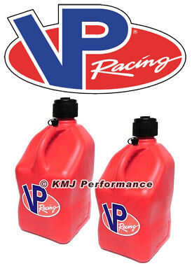 VP Racing 2 Pack Square Red 5 Gallon Race Gas Alcohol Can Fuel Water Jug IMCA