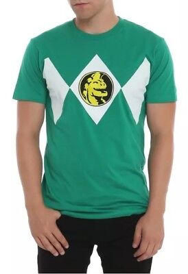 Authentic Mighty Morphin Green Power Rangers Costume Adult Men Small T-Shirt (Authentic Power Ranger Costumes)
