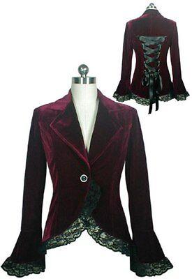 Burgundy Victorian Gothic Equestrian Lace Trim Corset Velvet Jacket XL 1X