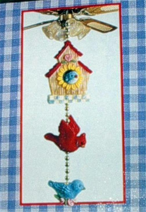 Birdhouse with Bluebirds and Cardinal Fan Pull NEW