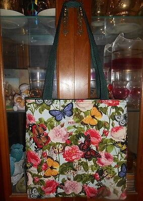 Butterfly Rose Tote Bag Floral Peony Fun Lunch Book Bag Gift Handmade Purse