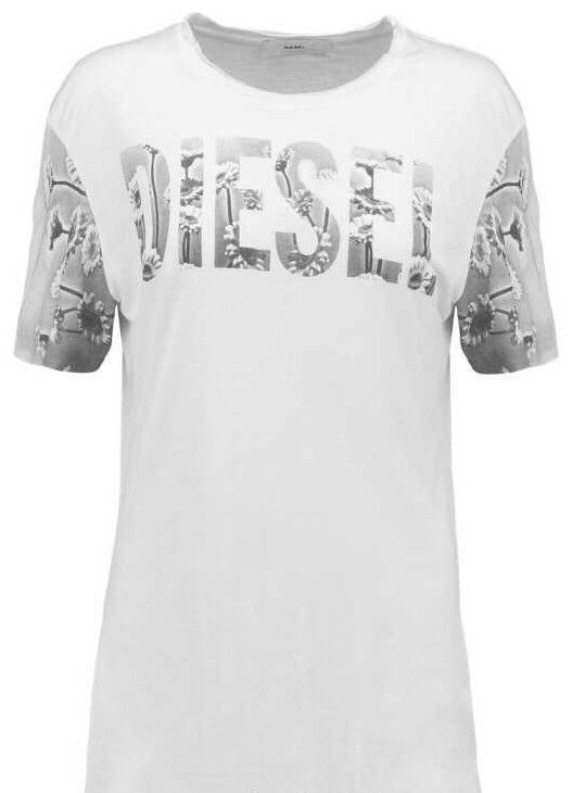 DIESEL FLOWERS WHITE SHORT SLEEVE TEE T SHIRT Clothing, Shoes & Accessories