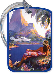 Hawaii Vintage Airline Travel HAWAIIAN LUGGAGE TAG Hula